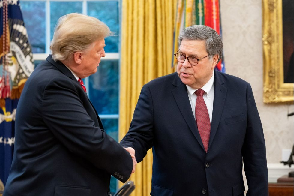 President Donald Trump og justisminister William Barr. Foto: US Department of Justice